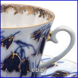 14-Piece Imperial Porcelain Tea Set for 6 Persons 22k Gold Lomonosov Bluebells