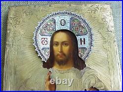 18c RUSSIAN SILVER 84 IMPERIAL ORTHODOX ICON JESUS CHRIST GOD ENAMEL GOLD CROSS