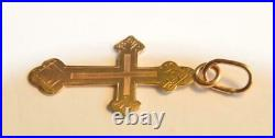 1900y RUSSIAN ROYAL IMPERIAL 56 GOLD ORTHODOX CROSS ICON PENDANT NECKLACE JESUS