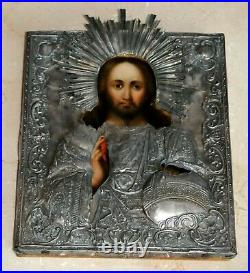 19c RUSSIAN IMPERIAL ICON JESUS CHRIST GOD 84 SILVER ROYAL GOLD ORTHODOX CHURCH