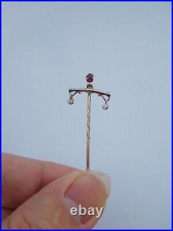 19th Century Imperial Russian Gold Silver Diamonds Ruby Love Balance Stick Pin