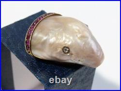 19thC Imperial Russian Gold Diamond Ruby Baroque Pearl SECRET BOX Pendant Beluga