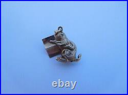 1of A Kind Imperial Russian 1900 Hollow Cast 14K 56 Gold Cat Pendant Charm