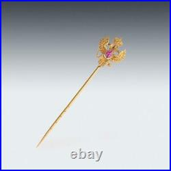 ANTIQUE 19thC IMPERIAL RUSSIAN 56 GOLD & RUBY STICKPIN, KARL BOCK c. 1890