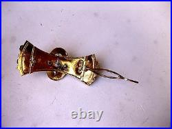 ANTIQUE RUSSIAN IMPERIAL 56 ROSE GOLD ENGRAVED HAIR PIN with GEMS, RIGA, 19c