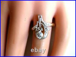 ANTIQUE RUSSIAN IMPERIAL 56 ROSE GOLD/SILVER RING with DIAMONDS, mid. 19c