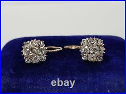 Amazing Russian Imperial 14k 56 gold earrings with diamonds 19th century