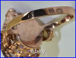 Amazing antique Imperial Russian 18k gold, Diamonds& 7ct Pear cut Amethyst ring