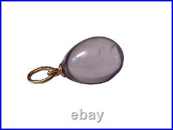 An Antique Russian Imperial Miniature Egg Pendant 56 Gold Loop & Handmade Stone
