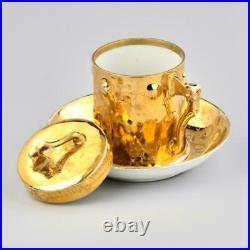 Antique 19th Russian imperial Rare Original Gilt Cup & Saucer KUZNETSOV Marked