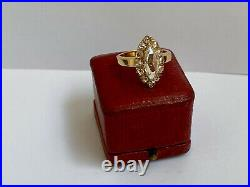 Antique Amazing Imperial Russian Faberge Diamond Ring 14k 56 Gold Author's