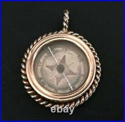 Antique Compass Pendant Solid 14k Rose Gold Platinum Russian Imperial Original