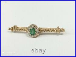 Antique Imperial 56 Yellow Gold Russian Brooch Set With Diamond's And Emerald