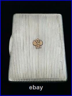 Antique Imperial Eagle Russian Silver Cigarette Vesta Case 14K Gold FABERGE Era