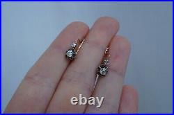Antique Imperial Russian 14k Gold Diamond 56 Russian Earrings
