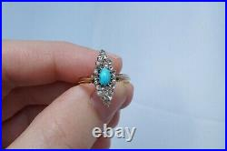 Antique Imperial Russian 14k Gold Turquoise Rose Cut Diamond 56 Russian Ring