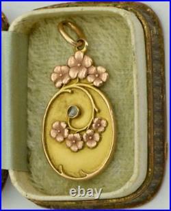 Antique Imperial Russian Art-Nouveau vari-color 14k gold (56)& diamond pendant