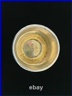 Antique Imperial Russian Chased Silver NIELLO Shot Kiddush Gold Wash Cup Charka