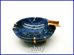 Antique Imperial Russian Cigarette Natural Lapis Lazuli 56 Gold 14K Ashtray Bowl
