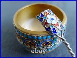 Antique Imperial Russian Enamel Cloisonne Silver Gold Salt Cellar/Salt Spoon 2