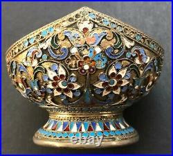 Antique Imperial Russian Enameled Gilded 88 Silver Bowl (N. Alekseev)