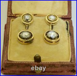 Antique Imperial Russian Faberge 1.6ct Diamonds 18k gold earrings set in box