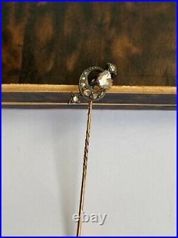 Antique Imperial Russian Faberge 14k 56 Gold Diamond Crown Stick Pin Brooch 2