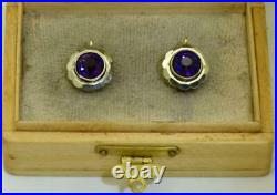 Antique Imperial Russian Faberge 14k gold & Amethyst earrings set c1890's. Boxed