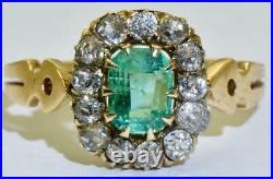 Antique Imperial Russian Faberge 18k Gold, 1ct Emerald &1.5ct Diamonds ring. Boxed