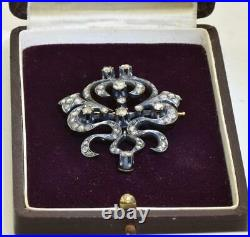 Antique Imperial Russian Faberge 18k Gold, 2.5ct Diamonds brooch c1890's. Boxed