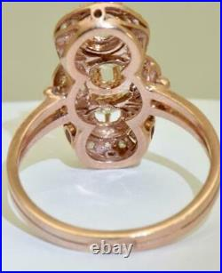 Antique Imperial Russian Faberge 1ct Diamonds 14k red gold ring c1880's. Boxed
