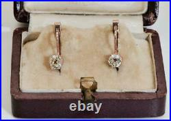 Antique Imperial Russian Faberge 1ct Diamonds gold earrings set in original box