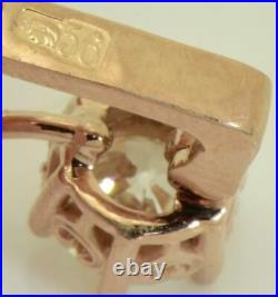 Antique Imperial Russian Faberge 2ct Diamonds gold earrings set in original box