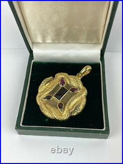 Antique Imperial Russian Faberge 88 Silver Gold pl. Natural Garnet Snake Pendant
