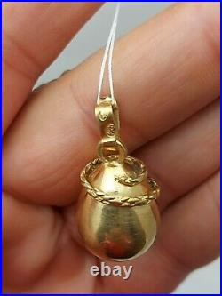Antique Imperial Russian Faberge Diamond Silver 84 Gold Plate Snake Egg Pendant