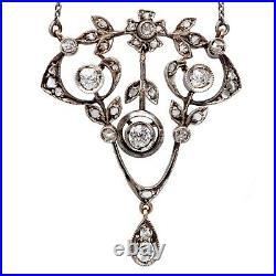 Antique Imperial Russian Faberge Gold Platinum Silver Diamond Pendant Necklace