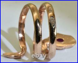 Antique Imperial Russian Faberge Snake 14k gold, Diamond, Ruby ring by Erik Kollin