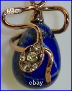 Antique Imperial Russian Faberge gold, Diamonds& Lapis Lazuly Easter Egg pendant