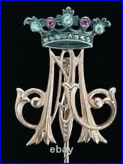 Antique Imperial Russian Gold Royal Stick Pin Romanov Grand Duchess FEDOR LORIE