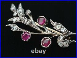Antique Imperial Russian Gold Ruby Diamond Victorian Brooch Jewelry Edwardian