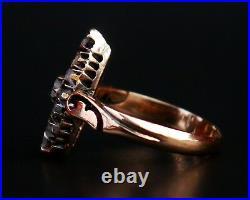 Antique Imperial Russian Lodka Ring solid 56 /14K Gold Diamonds Ø6.5US /3.2gr