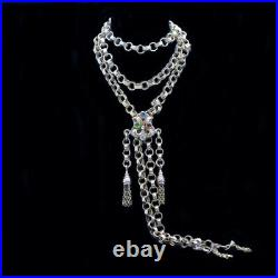 Antique Imperial Russian Long Chain Necklace Rose Gold w Slide Tassels (6365)