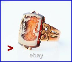 Antique Imperial Russian Minerva Ring Red Onyx solid 56/14K Gold ØUS 5.75 /4.1gr