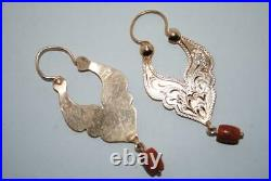 Antique Imperial Russian ROSE Gold 56 14K Jewelry Earrings Natural Coral 5.9 gr