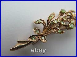 Antique Imperial Russian Rose Gold 56 14K Women's Jewelry Brooch Demantoid Stone