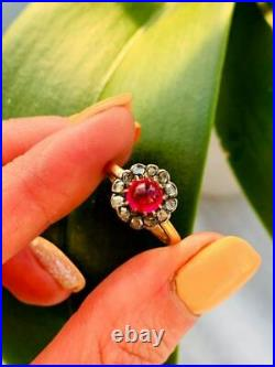 Antique Imperial Russian Rose Gold 56 14K Women's Jewelry Ring Diamonds 0.2 Ct