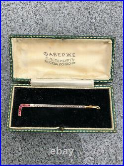 Antique Riding Stick Brooch Imperial Russian Faberge 18k 72 Gold Ruby Diamond