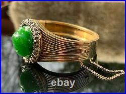 Antique Russian Faberge 14K Gold Diamonds Appx 28ct. Imperial A Jade Bracelet