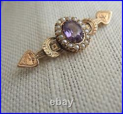 Antique Russian Imperial 56 Gold Brooch Amethyst Pearl Signed Engrave 14k Moscow