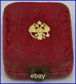 Art-Nouveau Imperial Russian 14k gold, Diamonds&Ruby brooch type watch. Boxed, 1900